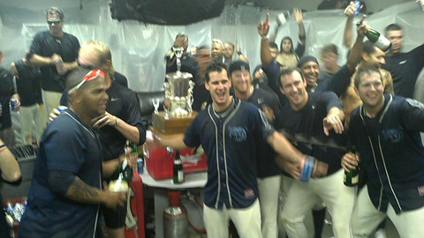 The BayBears celebrate their second straight championship.